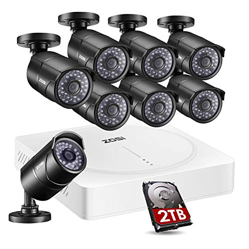 ZOSI 5MP Home Security Camera System Outdoor Indoor, CCTV DVR 8 Channel (2TB HDD Built-in) W / 8 x HD 5MP(2592 x 1920) Surveillance Bullet Camera -Remote Access, Motion Detection ()