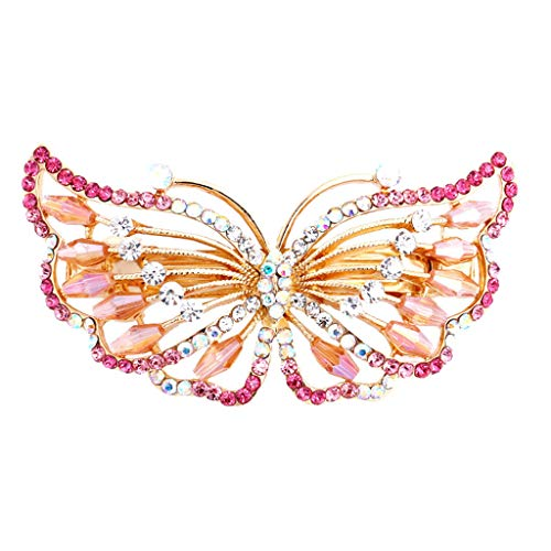 Euone Hair Clip, Women's Exquisite Butterfly Shaped Rhinestone Hair Barrette Clip Accessary Pink