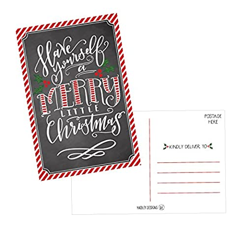 50 Holiday Greeting Cards, Cute & Fancy Blank Winter Christmas Postcard Set, Bulk Pack of Premium Seasons Greetings Note, Happy New Years Cards for Kids, Business Office or Church Thank You - Christmas Design Pack