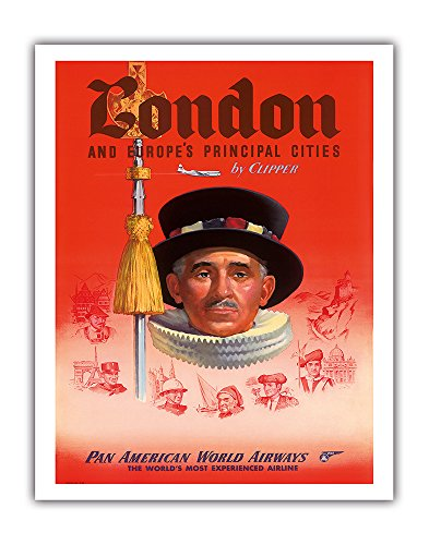 (London and Europe's Principal Cities by Clipper - Pan American World Airways (PAA) - British Yeomen of the Guard PAN AM - Vintage Airline Travel Poster c.1950s - Fine Art Print - 11in x 14in )