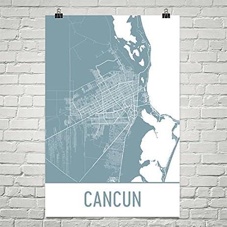 Amazon.com: Cancun Map, Cancun Art, Cancun Print, Cancun Mexico ...