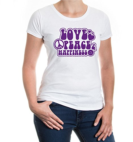 Girlie T-Shirt Love Peace and Happiness White