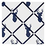 Sweet Jojo Designs Navy Blue White and Gray Woodland Deer Fabric Memory/Memo Photo Bulletin Board