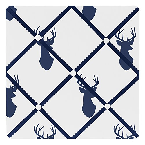 Sweet Jojo Designs Navy Blue White and Gray Woodland Deer Fabric Memory/Memo Photo Bulletin Board by Sweet Jojo Designs