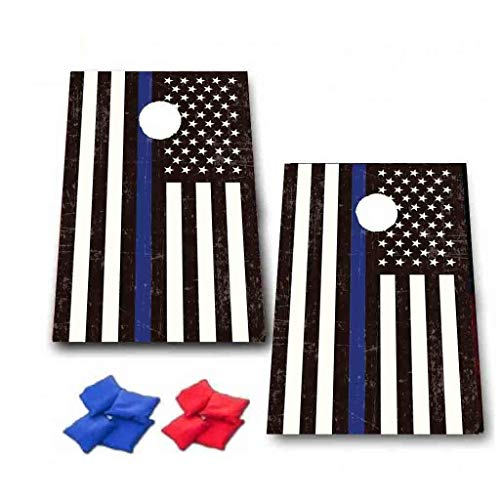 VictoryStore Cornhole Games - Thin Blue Line American Flag Cornhole Game - Police Gift Bag Toss Game - 8 Bags Included - Wooden - Apparel Promotional Mens