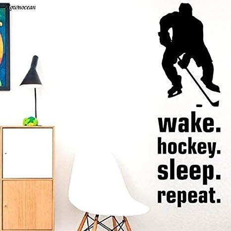 Pegatinas de pared Zykang Wake Hockey Sleep Repeat Quote Sports ...