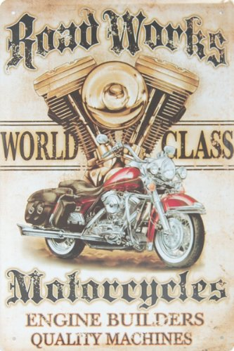 Road Works Motorcycles Engine Builders Quality Machines, Metal Tin Sign, Vintage Style Wall Ornament Coffee & Bar Decor, Size 8