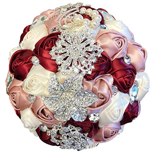 (Abbie Home Advanced Customization Romantic Bride Wedding Holding Toss Bouquet Creamy White Rose Brooch with Pearls and Rhinestone Decorative brooches Accessories-Multi Color (Burgundy + Pink))