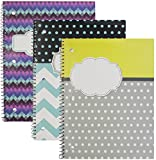Emraw Personalize Notebook Spiral with 70 Sheets of Wide Ruled White Paper - Set Includes: Chevron/Name Bubble, Chevron/Polka Dots and Name Bubble, Polka Dot YellowGray/Word Bubble Covers (3 Pack)