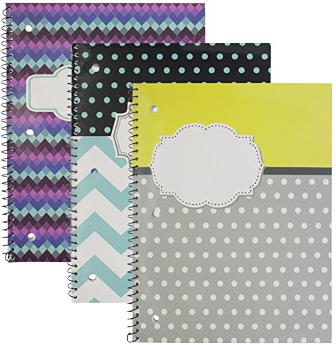 Emraw Personalize Notebook Spiral with 70 Sheets of Wide Ruled White Paper - Set Includes: Chevron/Name Bubble, Chevron/Polka Dots and Name Bubble, Polka Dot YellowGray/Word Bubble Covers (3 Pack) by Emraw