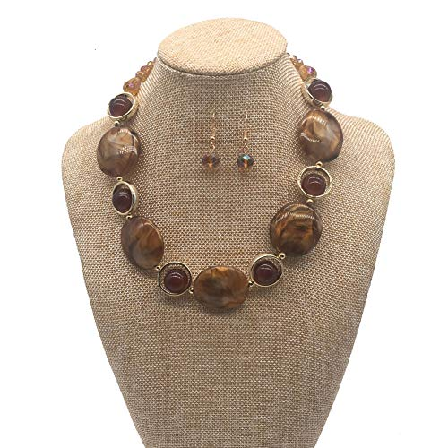 JHWZAIY Acrylic Crystal Necklace for Women Beads Statement Chunky Necklace and Earring Set (Brown)]()