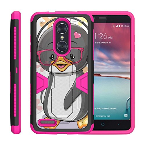 ax Pro Case | ZTE Blade X Max Case | ZTE Carry [Clip Caliber] High Impact Shockproof Silicone Armor Kickstand Holster Belt Clip Pink Case - Cute Penguin ()