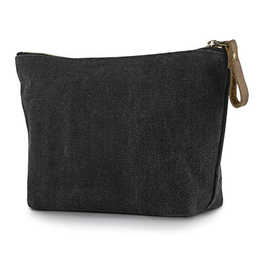 SMRITI Canvas Large Makeup Bag Pouch Purse Handbag Organizer with Zipper - Dark Grey