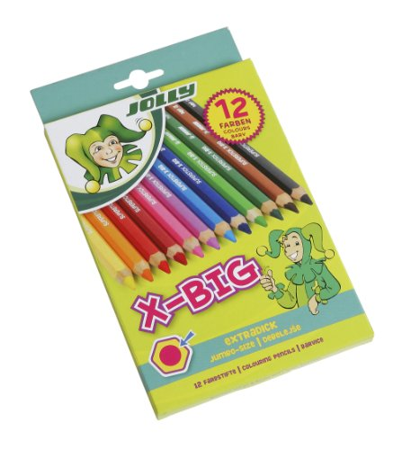 Jolly X-Big Jumbo Colored Pencils; Set of 12, Perfect for Special Needs, Art Therapy, Pre-School and Early - Colored Chubby Pencil