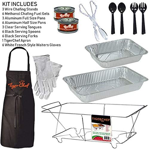 Tiger Chef Full Size Disposable Wire Chafer Stand Kit, Set Includes White Waitress Gloves, White, 40 Piece