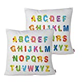 Queenie - 2 Pcs Alphabet For Kids Cotton Decorative Pillowcase Cushion Cover Throw Pillow Case 15.75 X 15.75 Inch 40 X 40 Cm, Set of 2 (Alphabet With Picture C)
