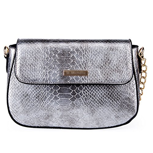 Handbag Magnet (YAOSEN Women Snakeskin Pattern Shoulder Bag PU Leather Magnet Tote Bag Crossbody Bag (Silver))