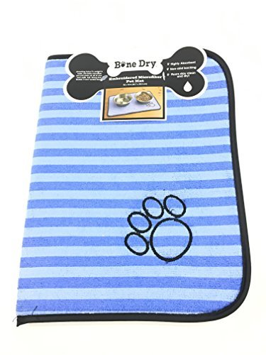 Bone Dry Embroidered Microfiber Pet Mat (Blue/Light Blue) - Dog Paw Print ()