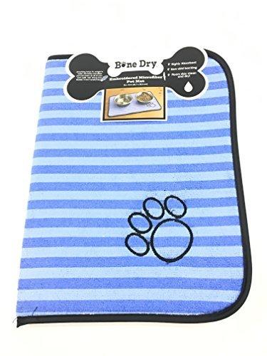 Bone Dry Embroidered Microfiber Pet Mat (Blue/Light Blue) - Dog Paw Print