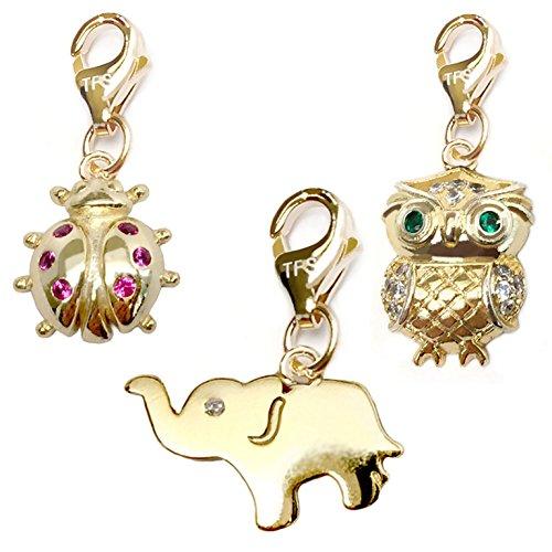 (TFS Jewelry Elephant, Ladybug, Owl Cubic Zirconia CZ 14k Gold Over Brass Clip-On Charm Set)