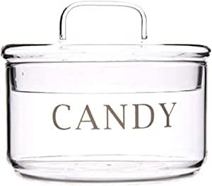 Glass Candy Jar with Lid, Elegant Sugar Bowl Decorative Cookie Dish Buffet Storage Container Clear, Ideal For Home, Office and Party Wedding, 11x9.5cm