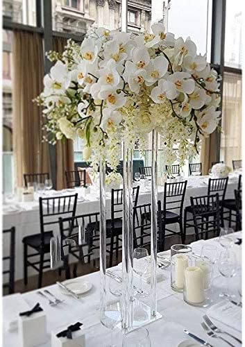 Elegant Tall 14 Inch Flower Vase with Metallic Stand
