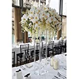 Everbon Set of 10 Elegant Tall Decorative Wedding Columns Pillars Clear Acrylic Wedding Flower Stands Bouquet Decorations Marriage Centerpiece Vase Event Party Decoration (31.5'' Tall)