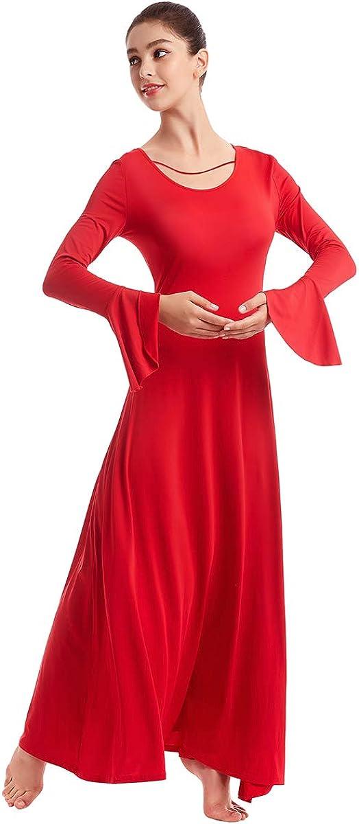 OwlFay Robe de Danse Liturgique pour Femme Manches Longues Toute la Longueur Loose Fit Swing Prayer Pri/ère Ballroom Culte V/êtements S-2XL