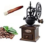 Lilizhou Manual Coffee Grinder With Grind Settings and Catch Drawer, Classic Vintage Style Manual Hand Grinder Coffee Mill, Old World Style with New World Technology