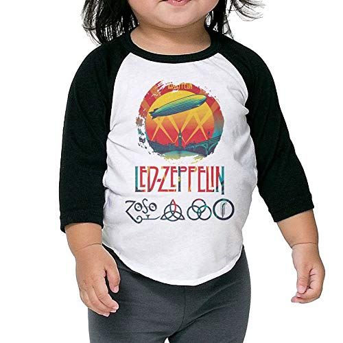 Purpubble Kids' Boys&Girls Led Zeppelin Celebration Day Cotton Raglan T Shirts 4 Toddler 3/4 Sleeve