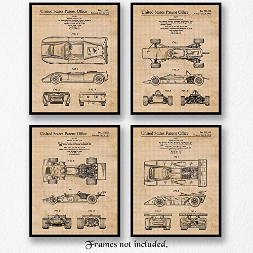 Original Vintage Racing Lola Cars Limited Patent Art Poster Prints, Set of 4 (8x10) Unframed Photos, Great Wall Art Decor Gifts Under 20 for Home, Office, Studio, Man Cave, Student, Teacher, F1 Fan