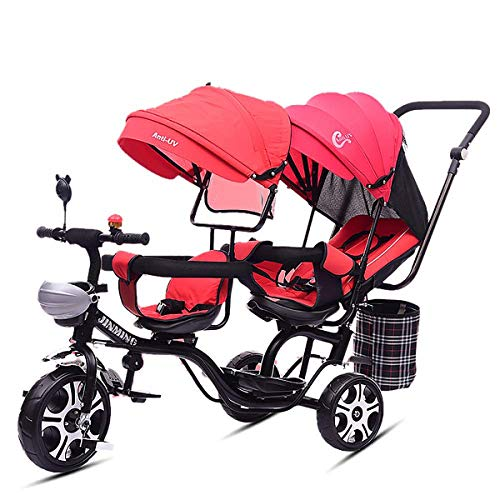 MeTikTok Detachable Twin Baby Stroller, Tricycle Tandem Children's Double Seat Cart Lightweight Front and Rear Folding Out Child Car Large Rotating Seat Reclining 1-7 Year Old Baby Carriage,Red