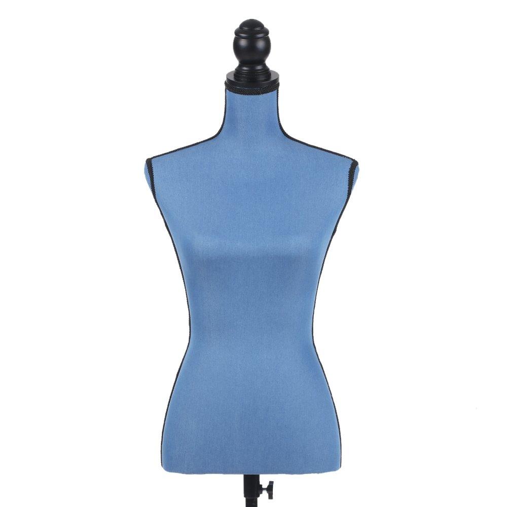 iKayaa Maniquí Busto Femenino Ajustable con Trípode de Madera de Pie Perchero de Vestido Color Azul