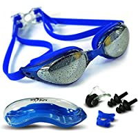 [Patrocinado] Swimming Goggles + 3 Adjustable Nose Bridges + Nose Clip + Case + Ear Plug,Swim Goggles Anti-Fog UV Protection No Leaking Clear Vision for Adult Men Women Kids(Blue,Black,Silver)