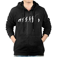 Evolution Fishing Sweater Shirt Zipper Jacket Sports Hoodie For Mens Fit Hiking Black Large