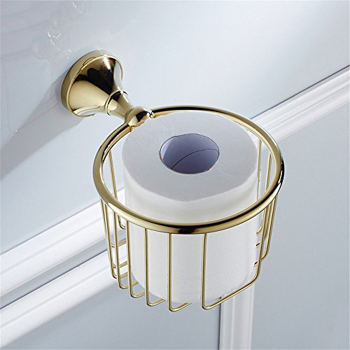 RFVBNM Bathroom wall hanging paper holder copper pendant gold-plated sanitary ware pendant kitchen hardware paper towel rack tissue basket Bathroom Bedroom Kitchen toilet paper holder