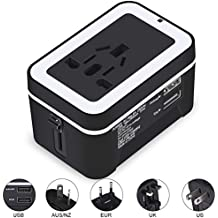 Travel Adapter,CoolingTech Universal International All-in-One Worldwide Travel Adaptor Wall Charger AC Power Plug Adapter Charger with Dual USB Port 2.4A For USA UK EU AUS - Black