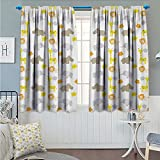 Nursery Thermal/Room Darkening Window Curtains Baby Jungle Animals Elephants Lions Giraffes Hippopotamuses Nature Inspired Design Customized Curtains Multicolor Size:72''x63''