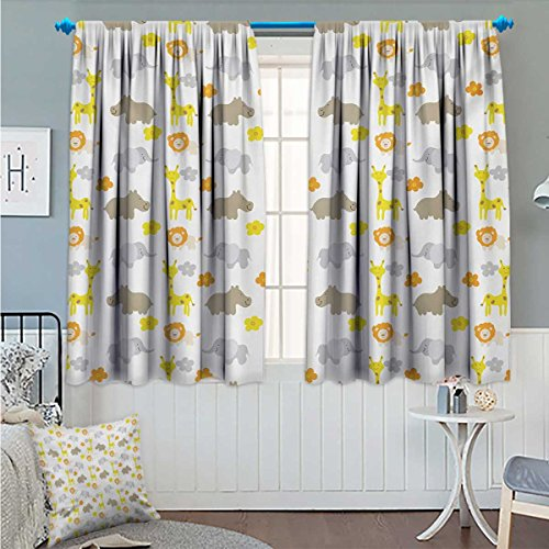 Nursery Thermal/Room Darkening Window Curtains Baby Jungle Animals Elephants Lions Giraffes Hippopotamuses Nature Inspired Design Customized Curtains Multicolor Size:72''x63'' by Angoueleven