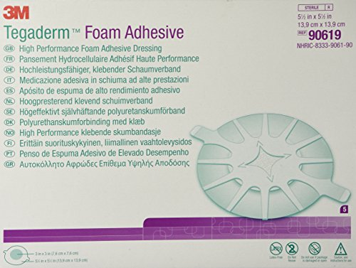 3M Tegaderm High Performance Foam Adhesive Dressing 90619, Heel Design, 5 Pads
