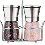 Premium Salt and Pepper Grinder Set with Stand Stainless Steel...