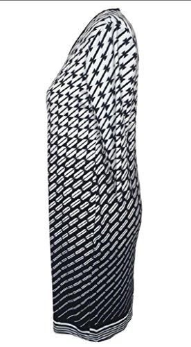 Round Print Women's Neck Size Midi Dress Jaycargogo Sleeve Plus 4 White 3 Eq45gHd