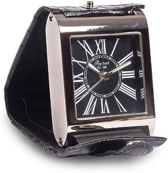 Rapport reloj despertador Adventura (Esfera negra. Cuero negro con cromo)