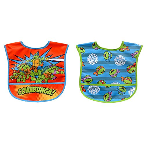 Neat Solutions 2 Piece Water Resistant Toddler Bib Set, Teenage Mutant Ninja Turtle -