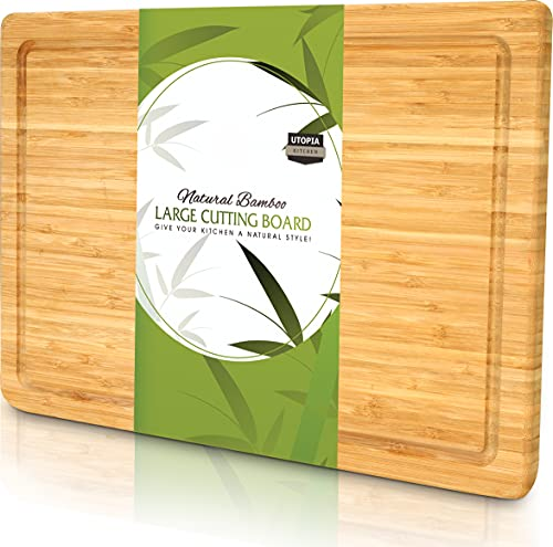Utopia Kitchen Extra Large Bamboo Cutting Board with Juice Groove , Kitchen Chopping Board for Meat Cheese and Vegetable…
