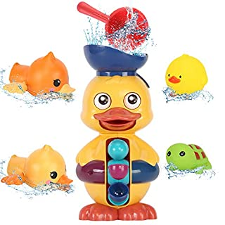 Sotodik Baby Bath Toys Duck Waterfall Station Bathtub Water Toy 2PCS Bath Squirters, 2PCS Wind Up Bath Toy and Bath Cups Fun Bath Time Gift for Toddlers Kids Infant Girls and Boys