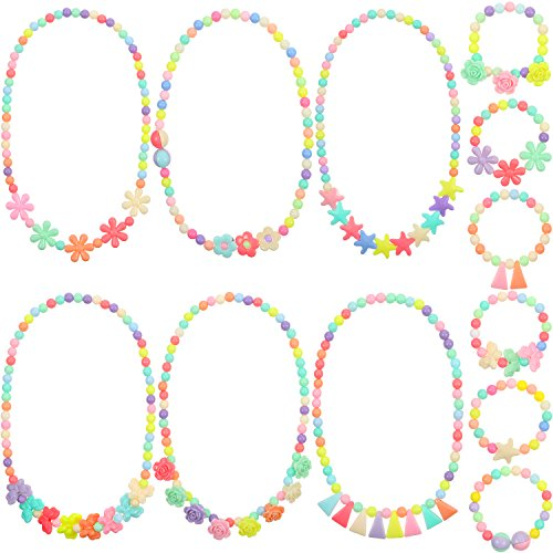 Bememo 6 Sets of Princess Necklace Bracelet Play Jewelry Little Girls Costume Necklaces Toddler Dress up Jewelry (Style 1) -