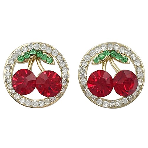 Cherry in Circle Rhinestone Bling Gold Tone Small Stud Post Earrings (Red) -