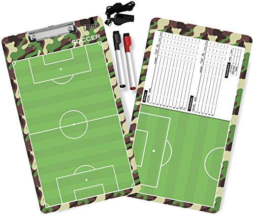 Tatti Coaches Clipboards Double Sided Premium Coaching Board with Dry Erase Markers and A Whistle : Choose Form Basketball and Soccer Coaches Boards (Navy Green)