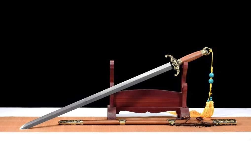 Bat Sword,Handmade Art(Damascus Steel Blade,Brass Fittings,Rosewood Scabbard) Chinese Sword